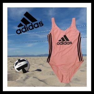 NEW Adidas Pink & Gray Logo One Piece Swimsuit